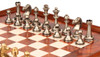 Traditional Staunton Solid Brass Chess Set with Elm Burl Chess Case
