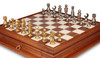 Contemporary Brass Chess Set with Elm Burl Single Drawer Chess Case