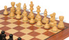 "French Lardy Staunton Chess Set Ebonized and Boxwood Pieces with Classic Mahogany Chess Board 3.25"" King - Boxwood Zoom"