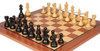 "French Lardy Staunton Chess Set Ebonized and Boxwood Pieces with Classic Mahogany Chess Board 3.75"" King - Zoom"