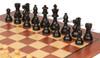 "French Lardy Staunton Chess Set Ebonized and Boxwood Pieces with Classic Mahogany Chess Board 3.75"" King - Ebonized Zoom"