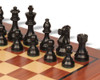 "French Lardy Staunton Chess Set Ebonized & Boxwood Pieces with Classic Mahogany Chess Board - 3.75"" King"
