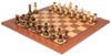 "Parker Staunton Chess Set in Burnt Boxwood with Classic Mahogany Chess Board - 3.75"" King"