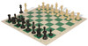 Master Series Weighted Plastic Chess Set Black & Tan Pieces with Green Roll-up Chess Board