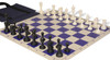 Master Series Easy-Carry Weighted Plastic Chess Set Black & Ivory Pieces with Blue Roll-up Chess Board & Bag