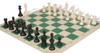 Club Tourney Series Plastic Chess Set Black & Ivory Pieces with Green Roll-up Chess Board