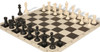 Club Tourney Series Plastic Chess Set Black & Ivory Pieces with Black Roll-up Chess Board