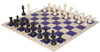 Club Tourney Series Plastic Chess Set Black & Ivory Pieces with Blue Roll-up Chess Board