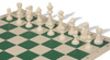 Club Tourney Classroom Plastic Chess Set Black & Ivory Pieces with Green Roll-up Chess Board & Bag