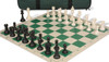 Club Tourney Carry-All Plastic Chess Set Black & Ivory Pieces with Green Roll-up Chess Board & Bag