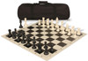 Club Tourney Carry-All Plastic Chess Set Black & Ivory Pieces with Black Roll-up Chess Board & Bag