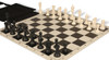 Club Tourney Easy-Carry Plastic Chess Set Black & Ivory Pieces with Black Roll- up Chess Board & Bag