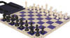 Club Tourney Easy-Carry Plastic Chess Set Black & Ivory Pieces with Blue Roll-up Chess Board & Bag