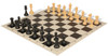 Club Tourney Series Plastic Chess Set Black & Camel Pieces with Black Roll-up Chess Board