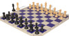 Club Tourney Series Plastic Chess Set Black & Camel Pieces with Blue Roll-up Chess Board