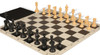 Club Tourney Classroom Plastic Chess Set Black & Camel Pieces with Black Roll-up Chess Board & Bag