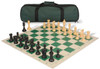 Club Tourney Carry-All Plastic Chess Set Black & Camel Pieces with Green Roll-up Chess Board & Bag