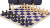 Club Tourney Carry-All Plastic Chess Set Black & Camel Pieces with Blue Roll-up Chess Board & Bag