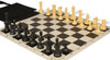 Conqueror Easy-Carry Plastic Chess Set Black & Camel Pieces with Black Roll-up Chess Board & Bag