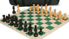 German Knight Carry-All Chess Set Package Ebonized & Boxwood Pieces - Green