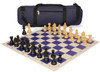 German Knight Carry-All Chess Set Package Ebonized & Boxwood Pieces - Blue