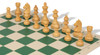 German Knight Carry-All Chess Set Package Acacia & Boxwood Pieces - Green
