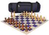German Knight Carry-All Chess Set Package Acacia & Boxwood Pieces - Blue