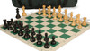 French Lardy Carry-All Chess Set Package Ebonized & Boxwood Pieces - Green