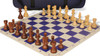French Lardy Carry-All Chess Set Package Acacia & Boxwood Pieces - Blue
