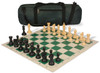 Guardian Carry-All Plastic Chess Set Black & Camel Pieces with Green Roll-up Chess Board & Bag
