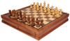 "German Knight Staunton Chess Set Acacia & Boxwood Pieces with Walnut Chess Case - 3.75"" King"
