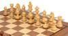 "German Knight Staunton Chess Set Acacia and Boxwood Pieces 3.75"" King with Walnut Chess Board Boxwood Zoom"