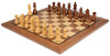 """German Knight Staunton Chess Set Acacia and Boxwood Pieces 3.75"""" King with Walnut Chess Board View 2"""