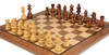 """German Knight Staunton Chess Set Acacia and Boxwood Pieces 3.75"""" King with Walnut Chess Board Zoom 2"""
