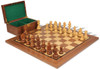"""German Knight Staunton Chess Set Acacia and Boxwood Pieces with Walnut Chess Board and Box 3.75"""" King"""