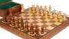 """German Knight Staunton Chess Set Acacia and Boxwood Pieces with Walnut Chess Board and Box 3.75"""" King - Closer"""