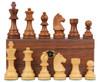 "German Knight Staunton Chess Set Acacia and Boxwood Pieces on Walnut Chess Box 3.75"" King"