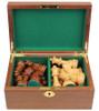 "German Knight Staunton Chess Set Acacia and Boxwood Pieces in Walnut Chess Box 3.75"" King"