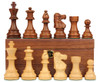 "French Lardy Staunton Chess Set Acacia and Boxwood Pieces on Walnut Chess Box 2.75"" King"