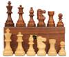 "French Lardy Staunton Chess Set Acacia and Boxwood Pieces on Walnut Chess Box 3.25"" King"