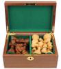 "French Lardy Staunton Chess Set Acacia and Boxwood Pieces in Walnut Chess Box 3.25"" King"