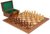"French Lardy Staunton Chess Set Acacia & Boxwood Pieces with Walnut Board & Box - 3.75"" King"