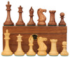 "New Exclusive Staunton Chess Set Acacia & Boxwood Pieces with Walnut Board & Box - 3.5"" King"