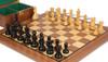 "Deluxe Old Club Staunton Chess Set Ebonized & Boxwood Pieces with Walnut Board & Box - 3.75"" King"