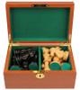 "Deluxe Old Club Staunton Chess Set Ebonized & Boxwood Pieces with Mahogany Chess Box - 3.75"" King"