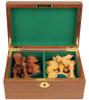"New Exclusive Staunton Chess Set Acacia & Boxwood Pieces with Walnut Board & Box - 3"" King"