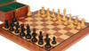 "British Staunton Chess Set Ebonized & Boxwood Pieces with Mahogany Board & Box - 4"" King"