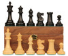 "British Staunton Chess Set Ebonized & Boxwood Pieces with Mahogany Board & Box - 4"" King"