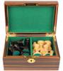 "British Staunton Chess Set Ebonized & Boxwood Pieces with Macassar Ebony Chess Box - 4"" King"