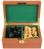 "British Staunton Chess Set Ebonized & Boxwood Pieces with Mahogany Chess Box - 4"" King"